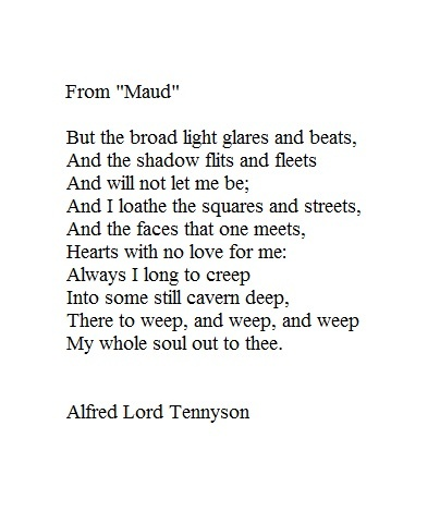 two poems by alfred lord tennyson essay Alfred, lord tennyson homework help questions what is a summary of the poem the brook written by alfred lord tennyson the title of tennyson's poem the brook gives the greatest clue as the.