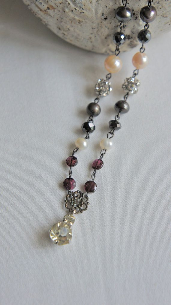 Vintage jewelry assemblage beaded necklace.