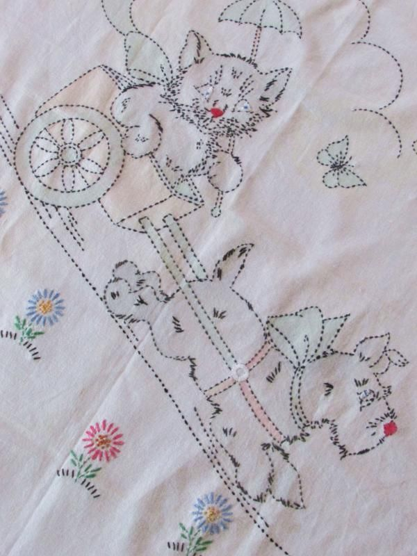 Adorable Vintage Baby Crib Coverlet or Quilt Top ~ Scotty Dog & Kitty Cat