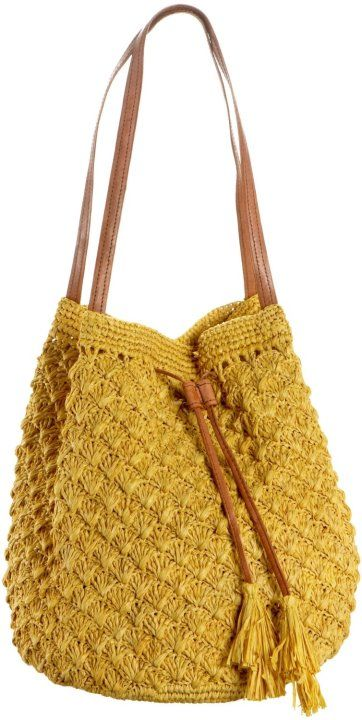A yellow crochet bag