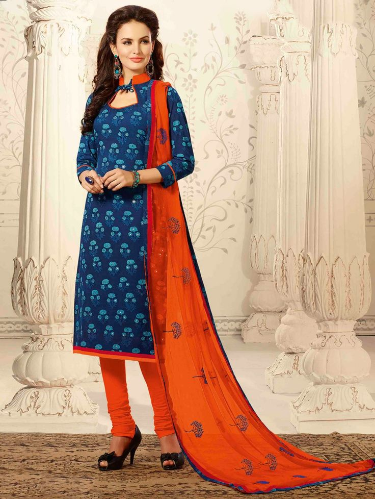 Blue Chanderi Suit with Embroidery Work
