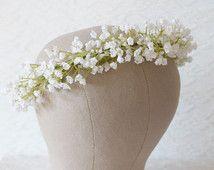Corona di fiori di Gypsophila, cerchietto fiore, accessori capelli sposa, accessori per capelli sposa, corona di fiori, corona di fiori bianchi, - GYPSY-