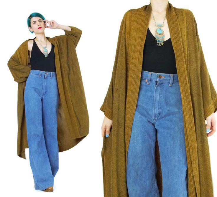 New to honeymoonmuse on Etsy: Vintage Robe Duster Jacket Maxi Kimono Draped Slouchy Oversize Kimono Plus Size Dressing Gown Desert Open Front Long Sleeve Robe (L/XL) (80.00 CAD)