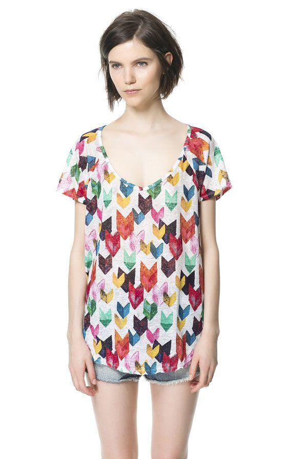 Zara PRINTED LINEN T-SHIRT