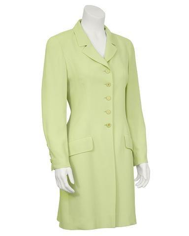 Chartreuse Dress and Coat Ensemble