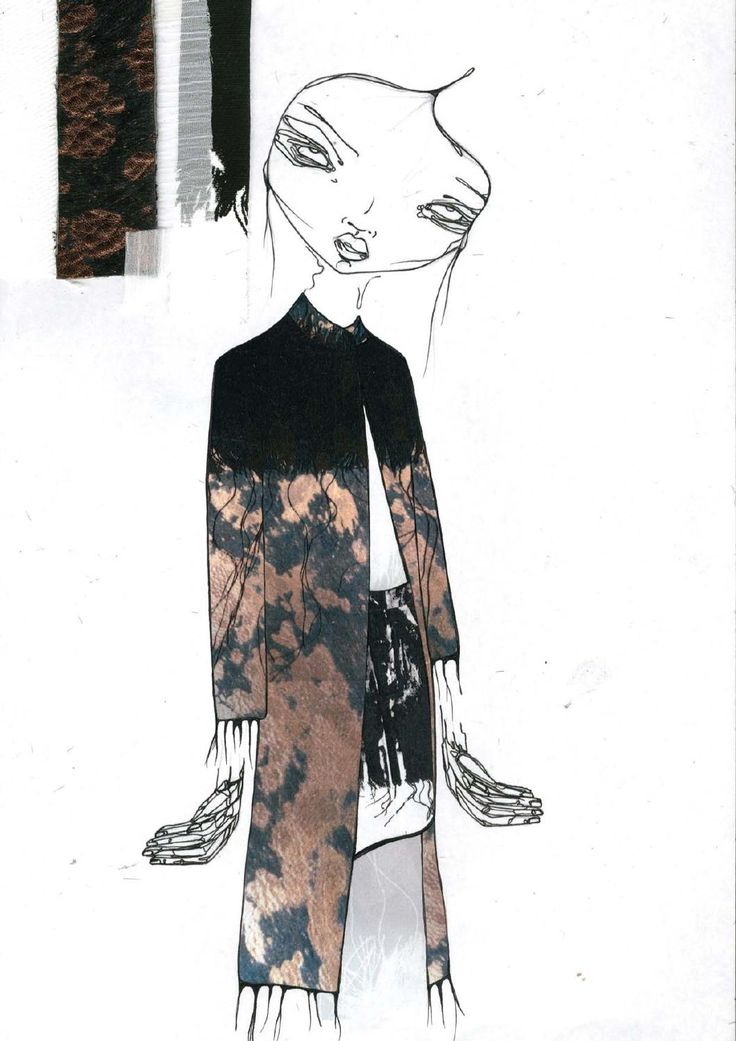Fashion Sketchbook page - fashion design development with fashion illustration & textile swatches; graduate fashion portfolio // Louise Alsop