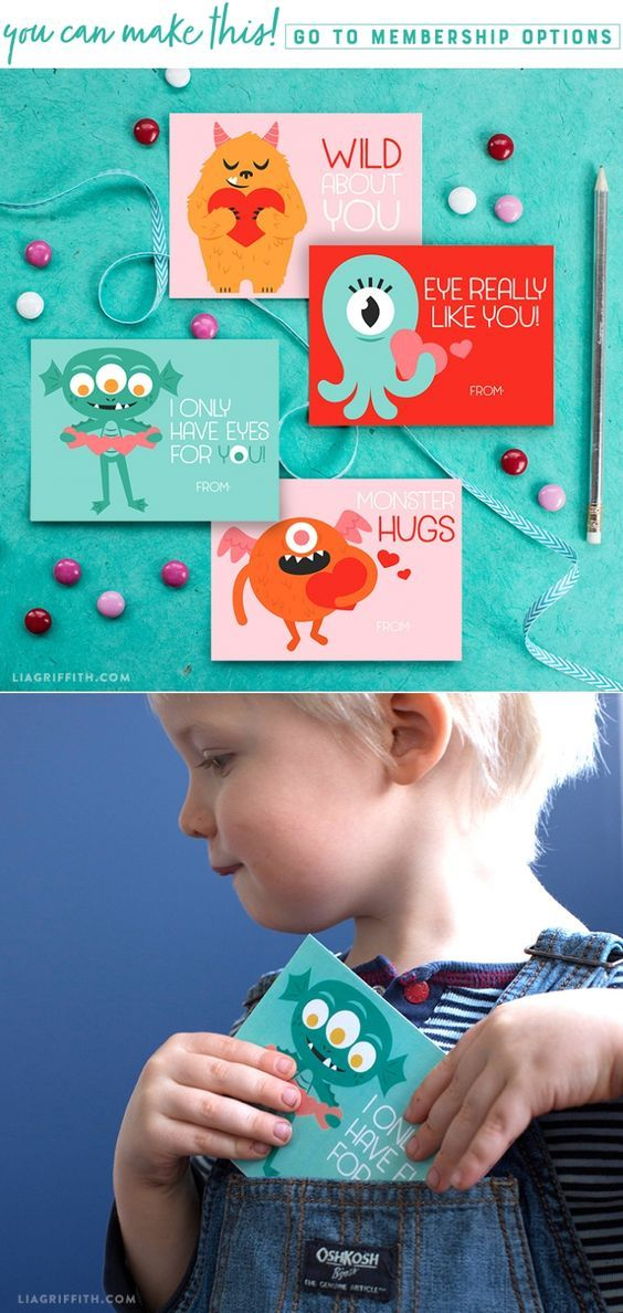 Download a print a set of cute monster Valentine's Day cards - Lia Griffith - www.liagriffith.com #printable #printables #paper #diyvalentines #paperlove #paperart #diyvalentinesday #diykids #madewithlia