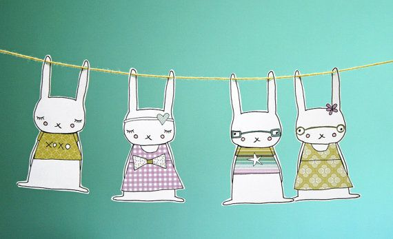 Rabbit Garland  Printable Kit PDF by HelloClementine on Etsy, $5.00