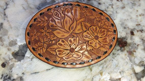 Leather tooled belt buckle with buckstitching. by TMPLeatherworks