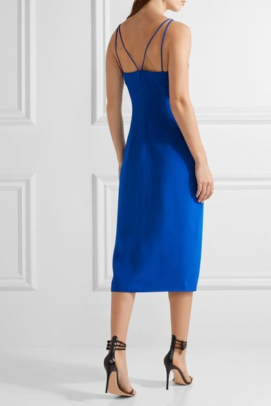 Bright-blue silk-crepe Concealed hook and zip fastening at back  100% silk; lining: 100% polyester Dry clean