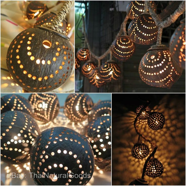 New Wooden Hanging Lamps made of Coconut Shell - Asian Night Lights Wood Shades
