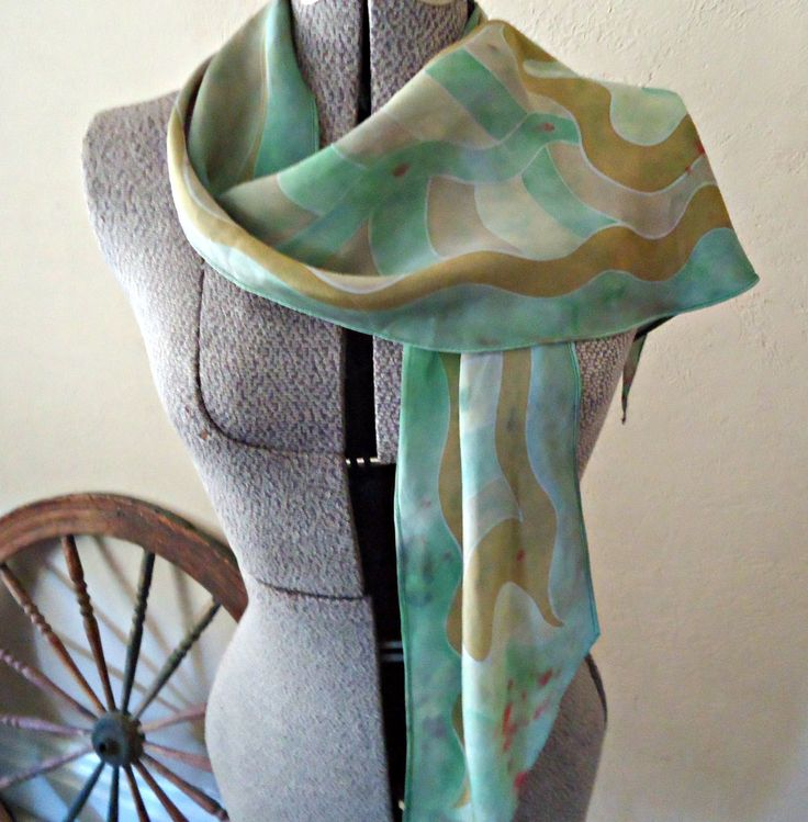 3 Vintage Scarf Art Scarf  Scarf Long Ladies Scarves Abstract   D29 by treasurecoveally on Etsy