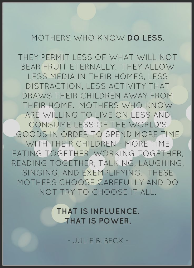 mothers who know.