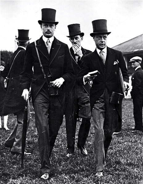 1920s morning coats and top hats Edward, Prince of Wales and Henry, Duke of Gloucester at the Epsom Races 1927.