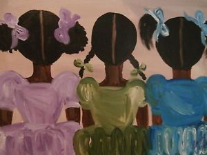 "Original African American black art painting signed 14"" x 18"""