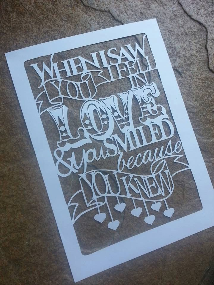 Commerical Use Papercut Template - Shakespeare Commercial Papercut - When I saw you I fell in love and you smiled because you knew - pinned by pin4etsy.com