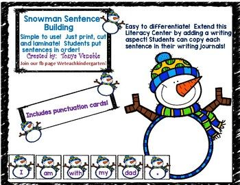 Students can manipulate each Snowman word card to put sentences in order! Easy to differentiate and easy to add a writing aspect. Students can copy each sentence into their writing journal. Covers many common sight words, as well as CVC words.
