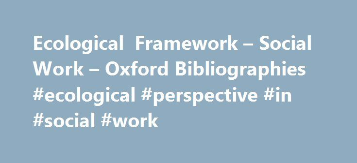 ecological perspective in social work pdf