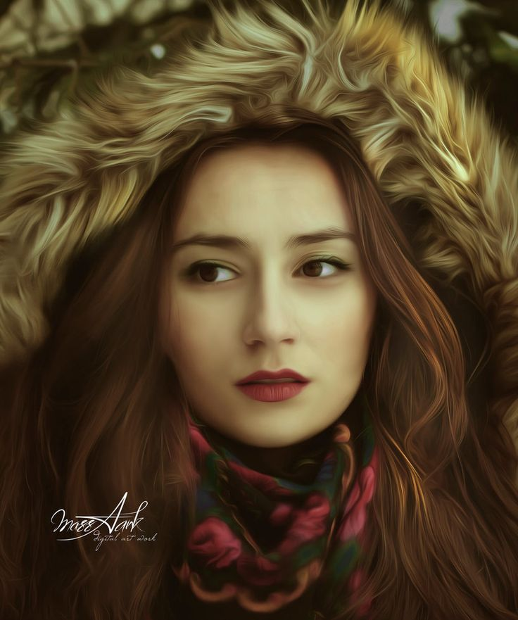 Winter Portrait in Smudge Painting by MazzAank.deviantart.com on @DeviantArt Simona Niculescu #simonamoon
