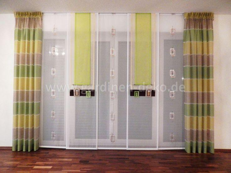 Formschöner Wohnzimmer Vorhang in harmonischer Grün-Konstellation ...