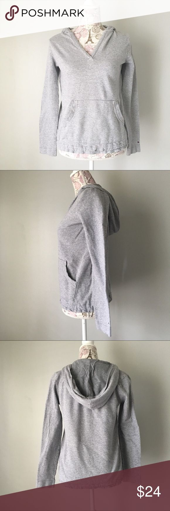 Tommy Hilfiger Gray Striped Hoodie Tommy Hilfiger gray and white striped hooded sweatshirt. Front pockets. Bottom drawstring is missing otherwise great condition. Size S Tommy Hilfiger Tops Sweatshirts & Hoodies