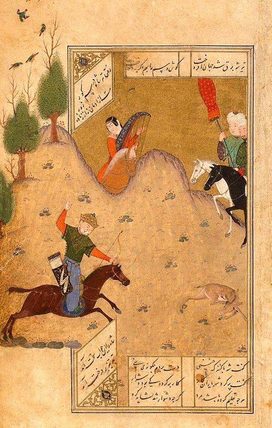 Bahram Gur hunting accompanied by Fitneh , Persian miniature, 1431, Hermitage, St. Petersburg