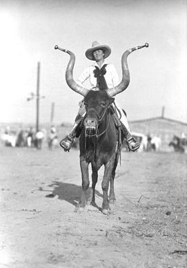 Mamie Francis atop Bobby the Steer  circa 1935.  Born Elba May Ghent about 1885 in Janesville, Wisconsin. Married to Herbert Skepper, a renowned Roman rider, Francis joined Pawnee Bill's Wild West Show in 1901. She remained there until 1907 when she joined the 101 Ranch Show. Married to Wild West show promoter, California Frank Hafley, since 1909, Francis made over 626 jumps on her white high-diving horse between 1908 and 1914 in spite of her inability to swim. Photo by Ralph Doubleday: Bouldering History, Ass Women, Atop Bobby, Francis Atop, Mamie Francis, About 1935, 101Ranch, Vintage Cowgirl, Wild West