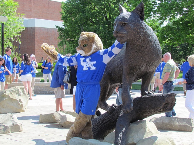 The Wildcat hanging out with the newest Wildcat on campus.: Photo