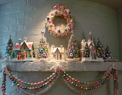 Christmas Mantel with Bottle Brush Trees and Putz houses