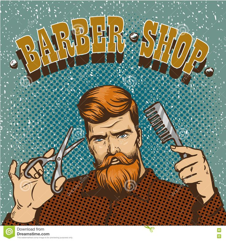 Ilustração Do Vetor Do Cartaz Da Barbearia O Estilista Do Moderno Com Tesouras…