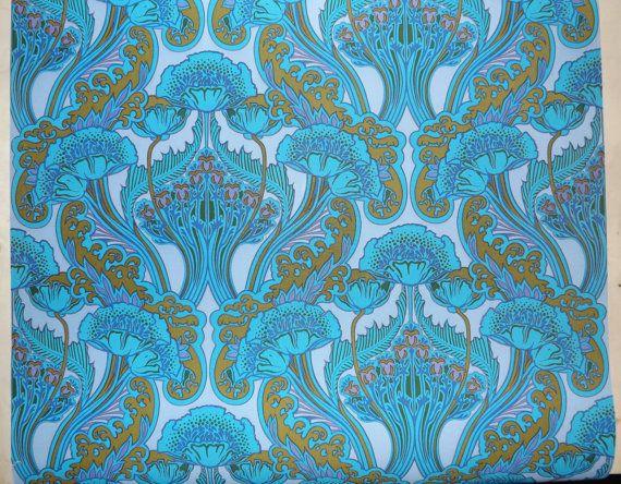 Blue art nouveau wallpaper vinyl coated arts and crafts turquoise mauve
