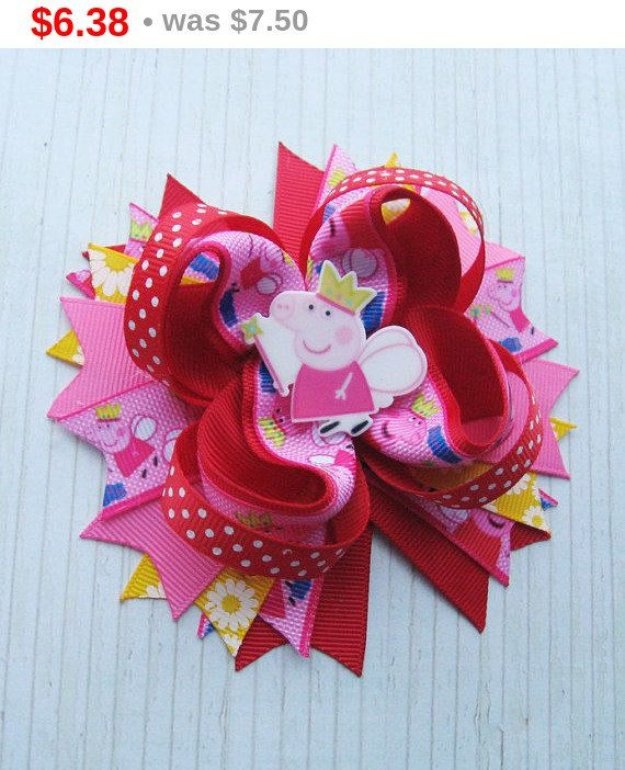 Peppa Pig Hair bows Peppa Pig Birthday Peppa Pig dress by OLIKA25