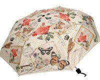 Heather Meyers Folding Compact Umbrella Butterfly and Flowers *** Details can be found by clicking on the image.