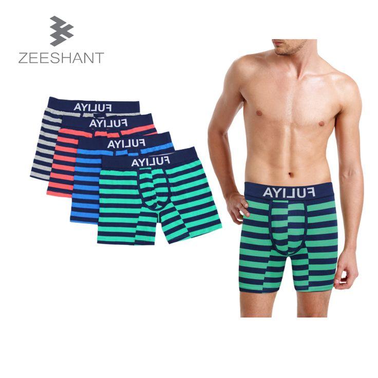 Men's Sleep Addicted Bottoms Bigger European Size 100% Cotton Stripe Casual Loose Comfortable Male Pajamas Sheer Boxer Pants