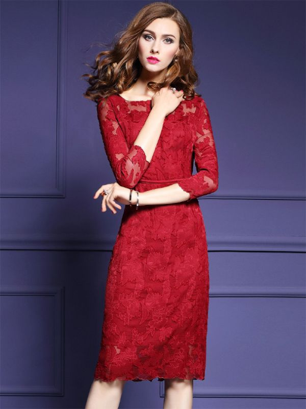 Shop - Deep Red Hollow Out Lace Bodycon Dress on Metisu.com. Discover  stylish and vogue women s dresses for the season. Regular discounts up to  60% off. a42aa7223b
