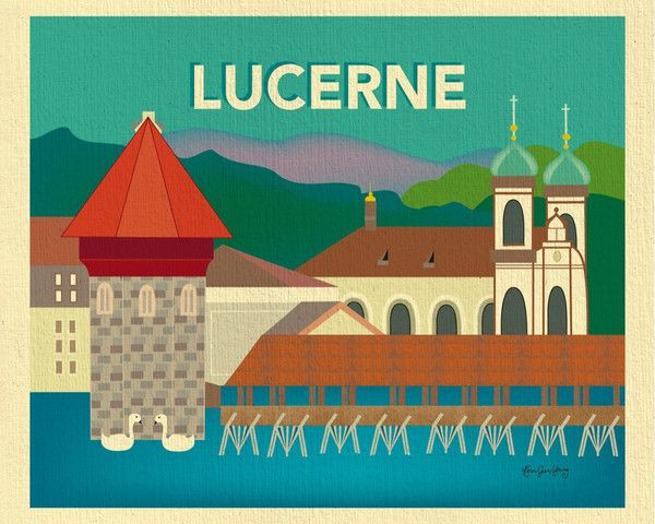 Lucerne Switzerland City PrintBright Color