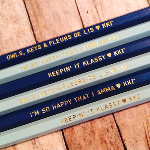 Kappa Kappa Gamma Quote Pencils with Gold Text