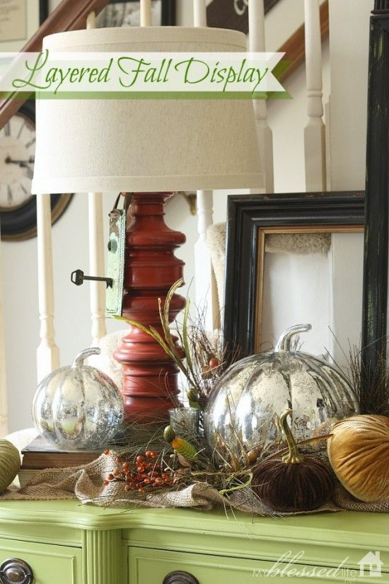 simple layered fall display myblessedlifenet - Decorating For Fall