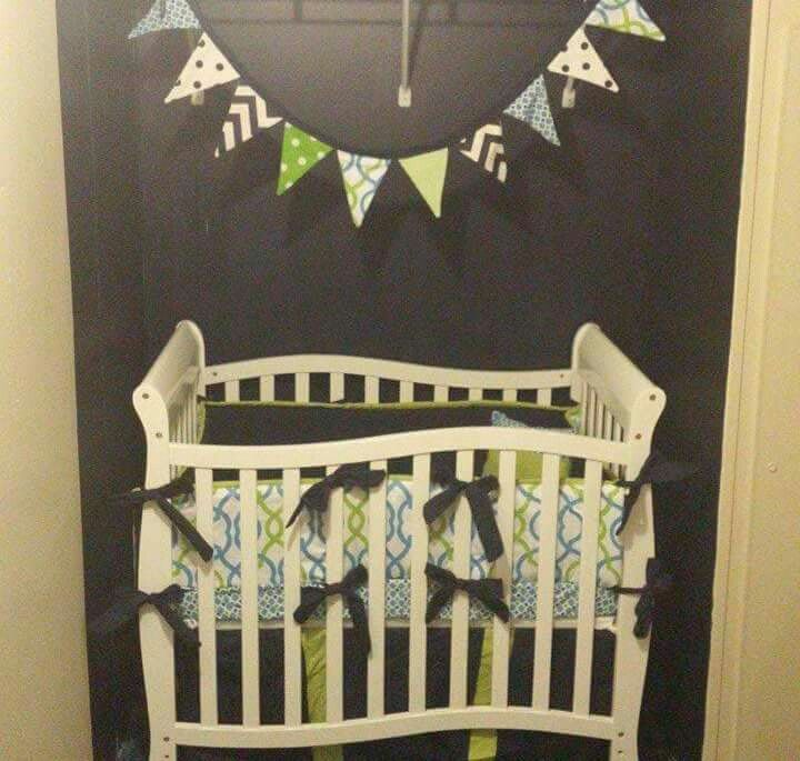Mini crib bedding nursery blue green white navy boy Link in bio!