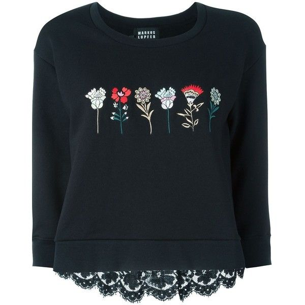Markus Lupfer Flower Embroidery Sweatshirt (1.525 BRL) ❤ liked on Polyvore featuring tops, hoodies, sweatshirts, black, floral print top, lace back top, floral print sweatshirt, cotton sweatshirt and floral sweatshirt