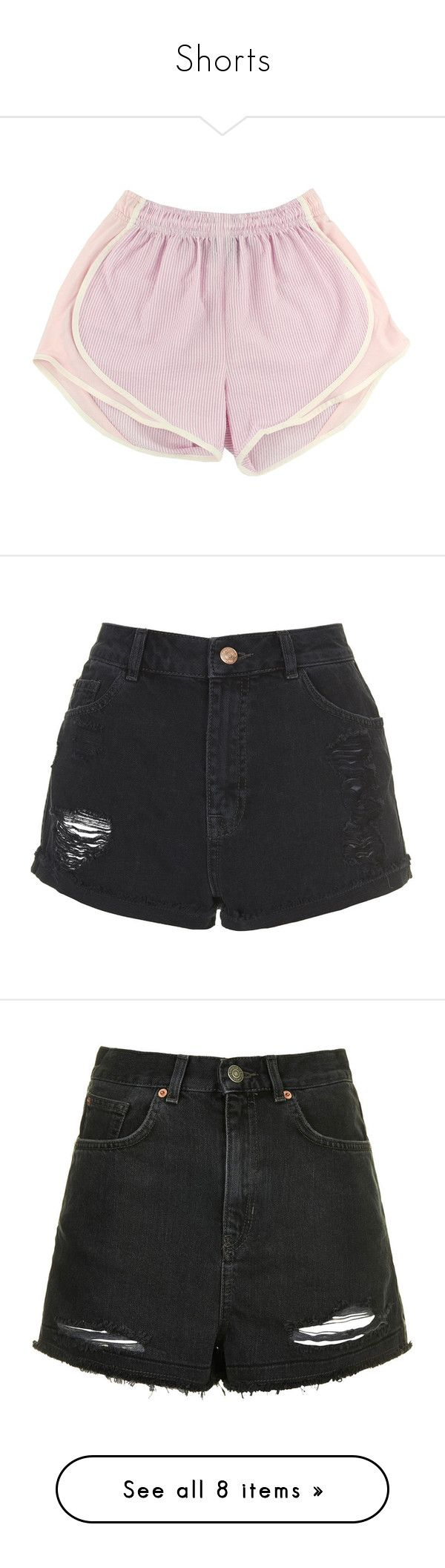 """Shorts"" by niisabel ❤ liked on Polyvore featuring shorts, clothes, bottoms, clothing - shorts, pants, short, black, hot short shorts, ripped short shorts and topshop shorts"