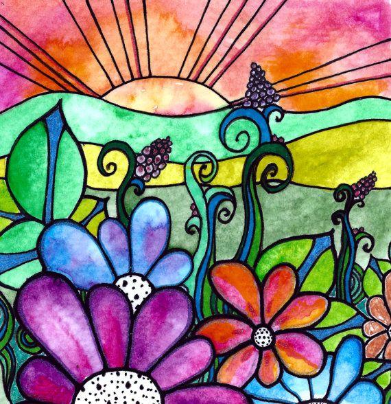 GrdenView sol del amanecer al atardecer Làmina por RobinMeadDesigns