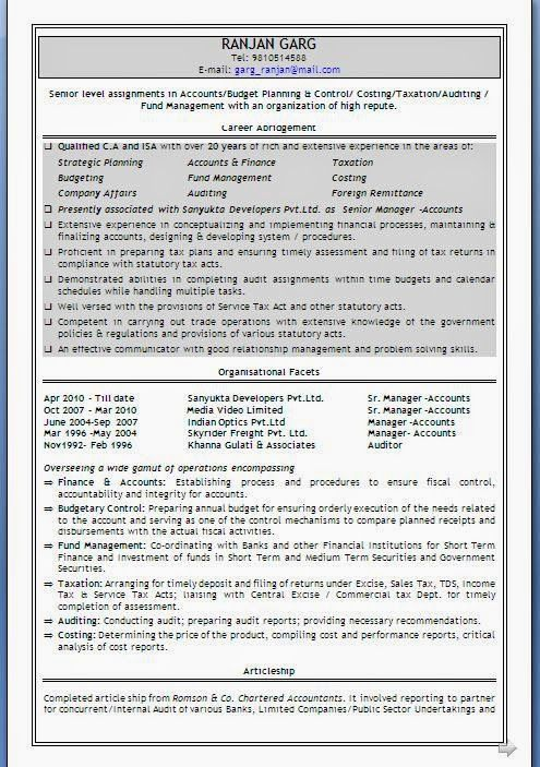 c v format in word download Excellent Curriculum Vitae   Resume - resume format for accounts manager