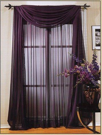 Window Treatment for bedroom. Nylon sheer raw iron decorative rod