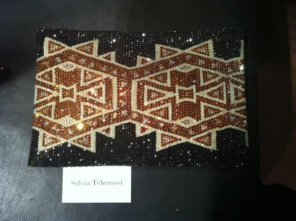 Wayuu clutch intervened with Swarovski crystals by Silvia Tcherassi