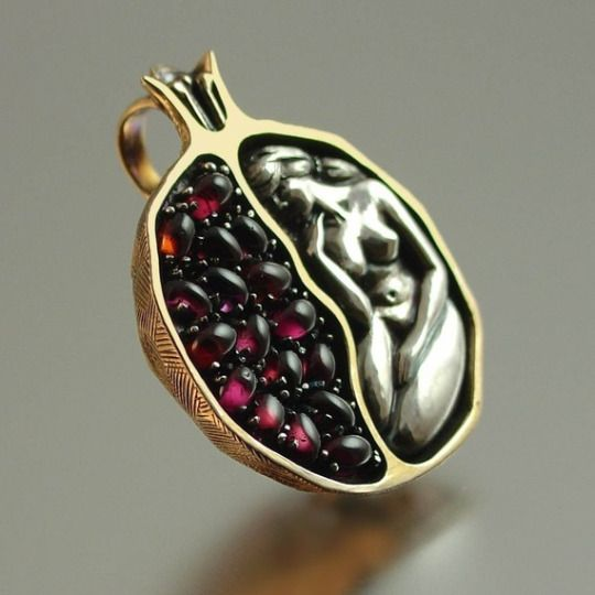 Persephone Pomegranate Pendant  Hades's unwilling wife, goddess of spring growth, and queen of the Underworld. For ages, pomegranates have symbolized love, fertility, and abundance.