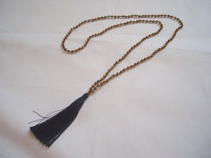 TASSEL NECKLACE with hand knotted crystal beads. Sparkly Old GOLD. Black Tassel. Boho necklace,long necklace,beaded tassel necklace, - pinned by pin4etsy.com