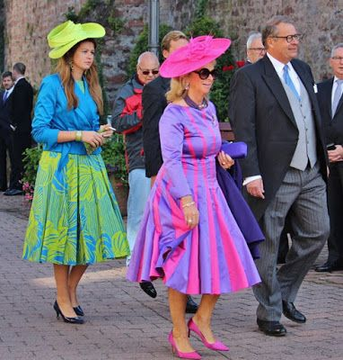 Duke Christian and Duchess Caroline of Oldenburg with their children Duchess Katharina and Duke Alexander, attends the religious wedding ceremony of Hereditary Prince Ferdinand of Leiningen and Princess Viktoria Luise of Prussia at the Princely Abbey Church in Amorbach on September 16, 2017