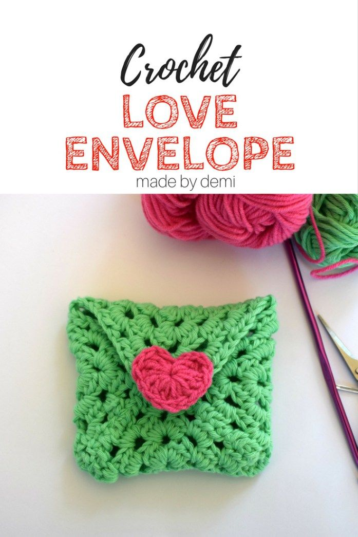 CROCHET LOVE ENVELOPE | a quick project for beginners | made by demi