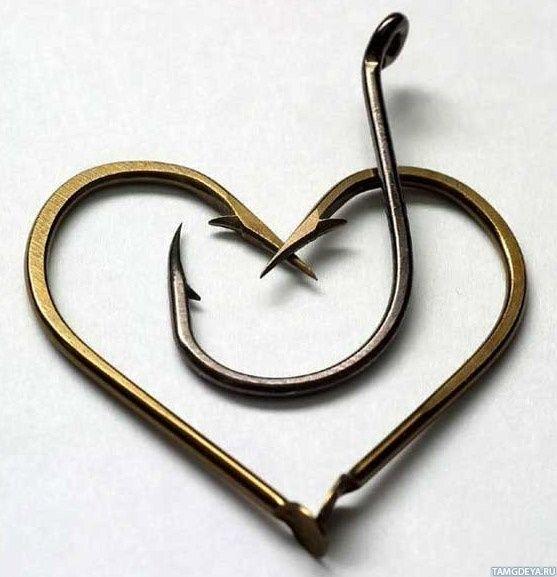 Картинка 557x577   Интересный аватар на тему любви с сердцем из крючков   Сердце, Любовь, Рыбалка,   фото